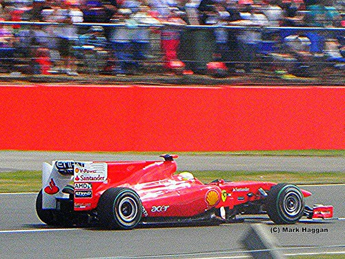 Fernando Alonso in his Ferrari at the 2010 British Grand Prix