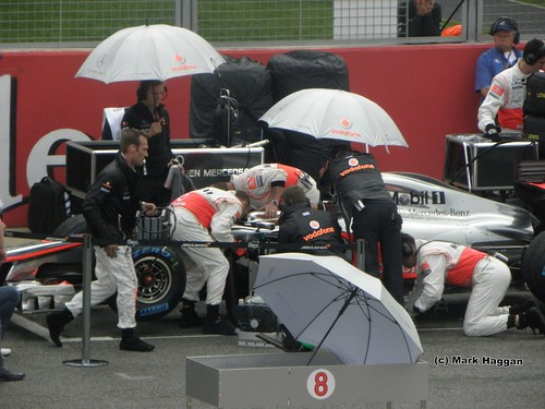 Lewis Hamilton gets ready for the 2011 British Grand Prix at Silverstone
