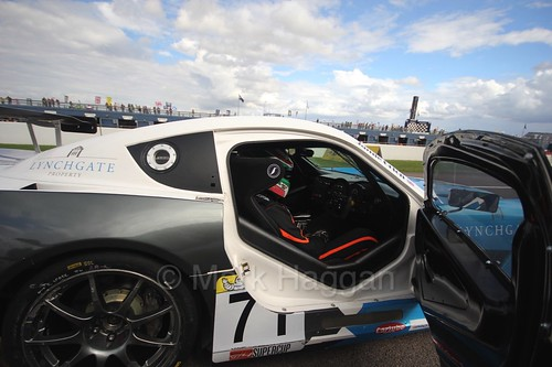 Jamie Orton on the grid in the Ginetta GT4 Supercup at Rockingham, August 2016