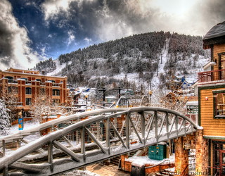 Winter city landscape, Park City, Utah.
