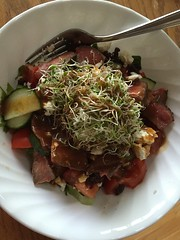 Chef salad with sliced leftover grilled steak and alfalfa sprouts #naturallyglutenfree #gf #glutenfree