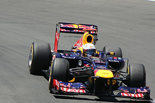 Sebastian Vettel in his Red Bull Racing F1 car during the 2012 European Grand Prix in Valencia