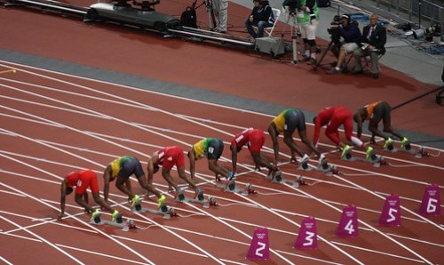 London 2012 Olympic Games 100m Final - Start