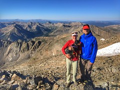 My friend Jennifer and I taking a breather on top of La Plata Peak summit.