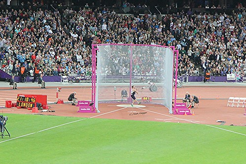 Dan Greaves of Team GB in the final of the men's discus at the London 2012 Paralympics