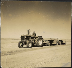 Heavy equipment working on the construction of...