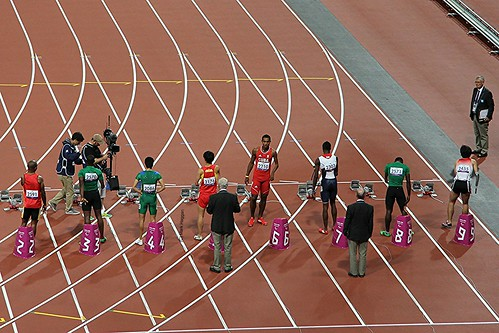 Preparing to start the men's 100m T46 final at the London 2012 Paralympic Games