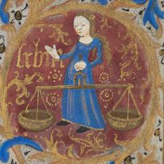 Zodiac sign of Libra in a 15th century manuscript