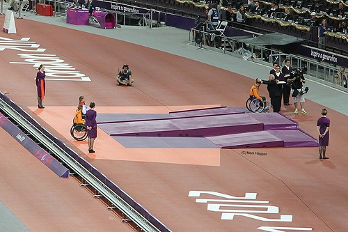The medal ceremony for the women's T34 200m at the London 2012 Paralympic Games