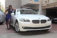 Actress Sanjjanaa with her own BMW 5 series (2)