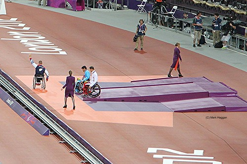 The medal ceremony for the men's T54 800 at the London 2012 Paralympic Games
