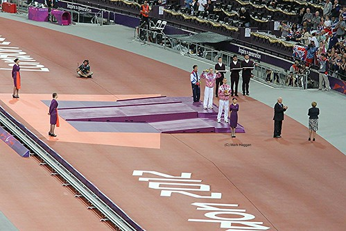 The medal ceremony for the Men's T36 800m at the London 2012 Paralympic Games