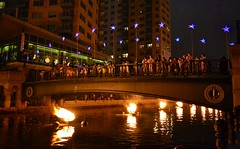 Girl Scouts view WaterFire after their Bridging Ceremony
