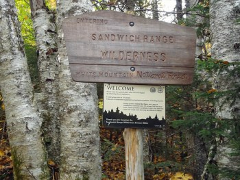 Sandwich Range Wilderness Sign on the Mt. Tripyramid Trail loop hike