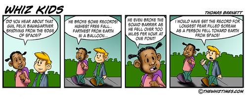 Felix Baumgartner sky dive cartoon: Whiz Funnies