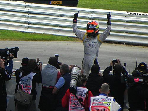 Romain Grosjean wins the 2011 GP2 Sprint Race at Silverstone