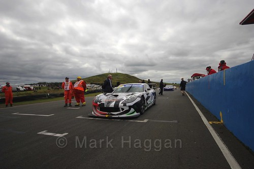 Tom Hibbert on the grid in the Ginetta GT4 Supercup at the BTCC Knockhill Weekend 2016