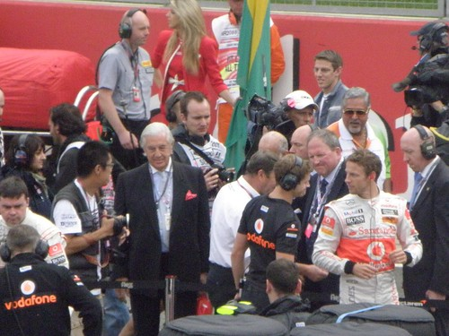 Jenson Button on the grid ahead of the 2011 British Grand Prix