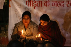 Candle light vigil outside Safdardarjung Hospital