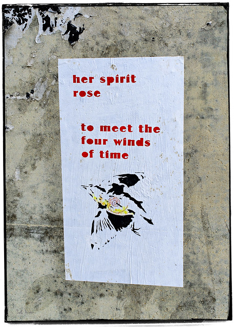 her spirit rose to meet the four winds of time