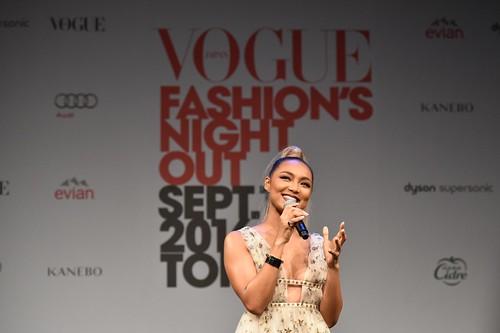 Japanese singer Crystal Kay performing at Vogue Japan Fashion's Night Out 2016, Omotesando, Tokyo, September 9, 2016
