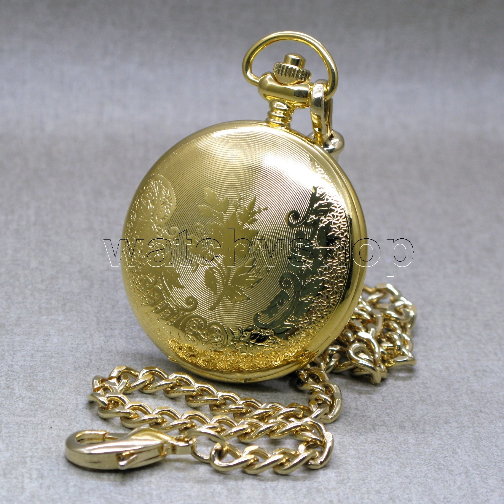 Gold Solid Brass Antique Mens Fashion Pocket Watch Fob Chain T Box P253