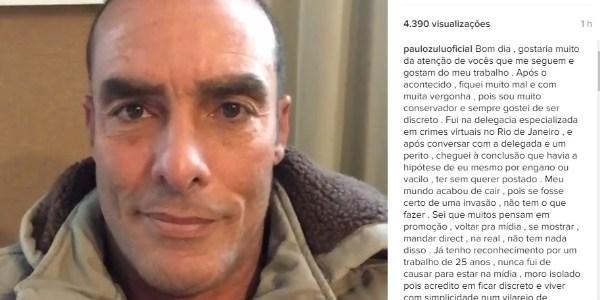 "Paulo Zulu se desculpa por nude publicado ""sem querer"": ""Fiquei mal"""