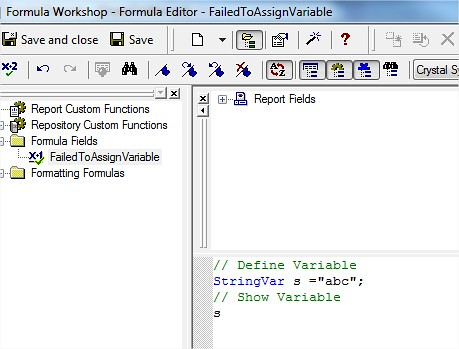 Crystal Report - Formula Workshop - Formula Editor Failed to assign Variable Sample