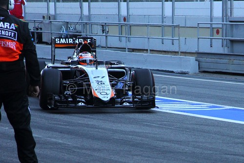 Nico Hulkenberg in his Force India in Formula One Winter Testing 2015