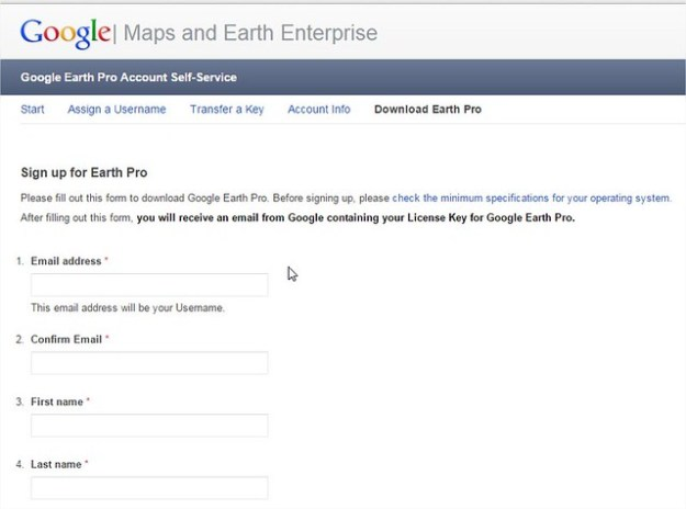 Google Earth Pro License Key Application Form