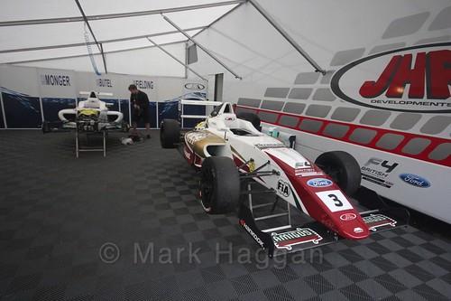 The JHR Developments garage at the BTCC Knockhill Weekend 2016