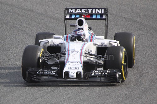 Valtteri Bottas in the Williams during Formula One Winter Testing 2015