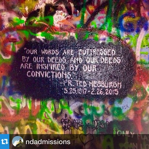 #Repost @ndadmissions:Notre Dame students remember Father Hesburgh by adding his words to the Lennon Wall in Prague this weekend.