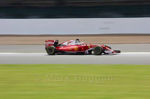 Kimi Raikkonen in his Ferrari during Formula One In Season Testing at Silverstone, July 2016