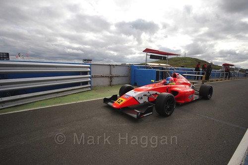 Ayrton Simmons after the final British Formula Four race during the BTCC Knockhill Weekend 2016