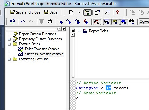Crystal Report - Formula Workshop - Formula Editor Success to assign Variable Sample
