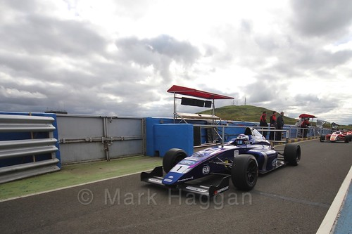 Devlin DeFrancesco after the final British Formula Four race during the BTCC Knockhill Weekend 2016