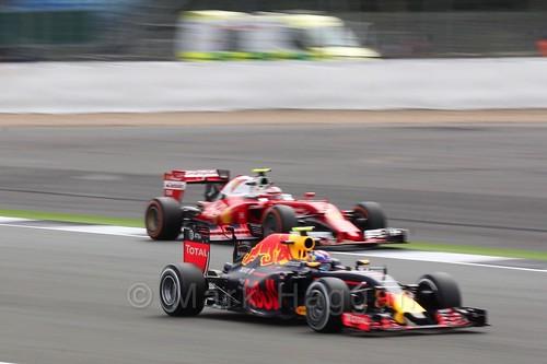 Max Verstappen passes a Ferrari in Free Practice 2 at the 2016 British Grand Prix