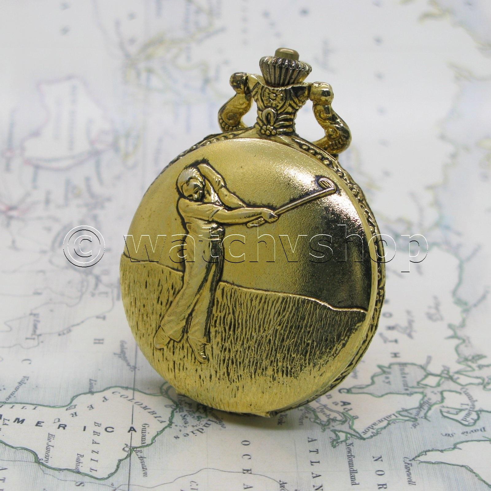 Gold Antique Style Golf Mens Fashion Quartz Pocket Watch T Fob Chain Box P223