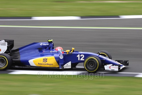 Felipe Nasr in his Sauber in Free Practice 1 at the 2016 British Grand Prix