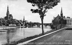 """Trinity and Old Parish Churches from Waterside (postcard posted 1953) • <a style=""""font-size:0.8em;"""" href=""""http://www.flickr.com/photos/36664261@N05/16839801590/"""" target=""""_blank"""">View on Flickr</a>"""