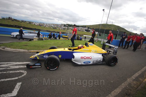 Alexandra Mohnhaupt on her way to the grid before the final British Formula Four race during the BTCC Knockhill Weekend 2016