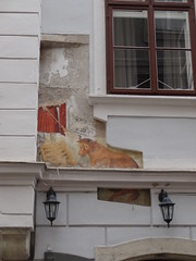 Old frescoes uncovered on building at 1 Bacherstrasse
