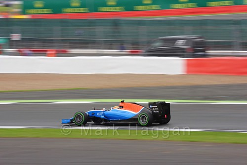 Rio Haryanto in his Manor during Free Practice 3 at the 2016 British Grand Prix