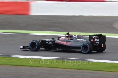Jenson Button in his McLaren during Free Practice 3 at the 2016 British Grand Prix
