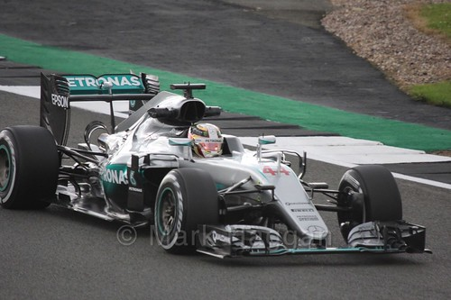 Lewis Hamilton in his Mercedes during Free Practice 1 at the 2016 British Grand Prix