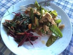 Chicken stir fry over mung bean noodles with steamed beet greens #doubleveggieday #summer #naturallyglutenfree #gf #glutenfree