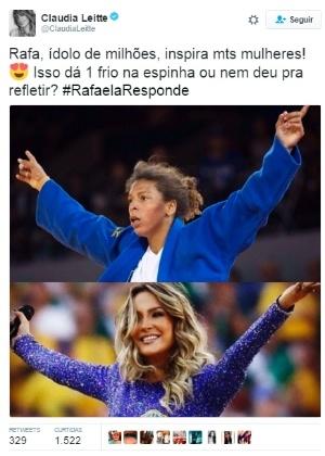 Claudia Leitte ganha críticas após comparar sua foto à de judoca campeã
