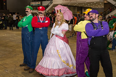 "Princess peach and her Mario/Wario group #cosplay #C2E2 2015 • <a style=""font-size:0.8em;"" href=""http://www.flickr.com/photos/33121778@N02/17095829858/"" target=""_blank"">View on Flickr</a>"
