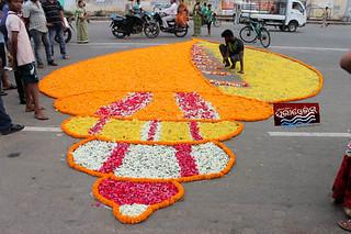 attractive rangoli at badadand ( GrandRoad) artist fill with flowers
